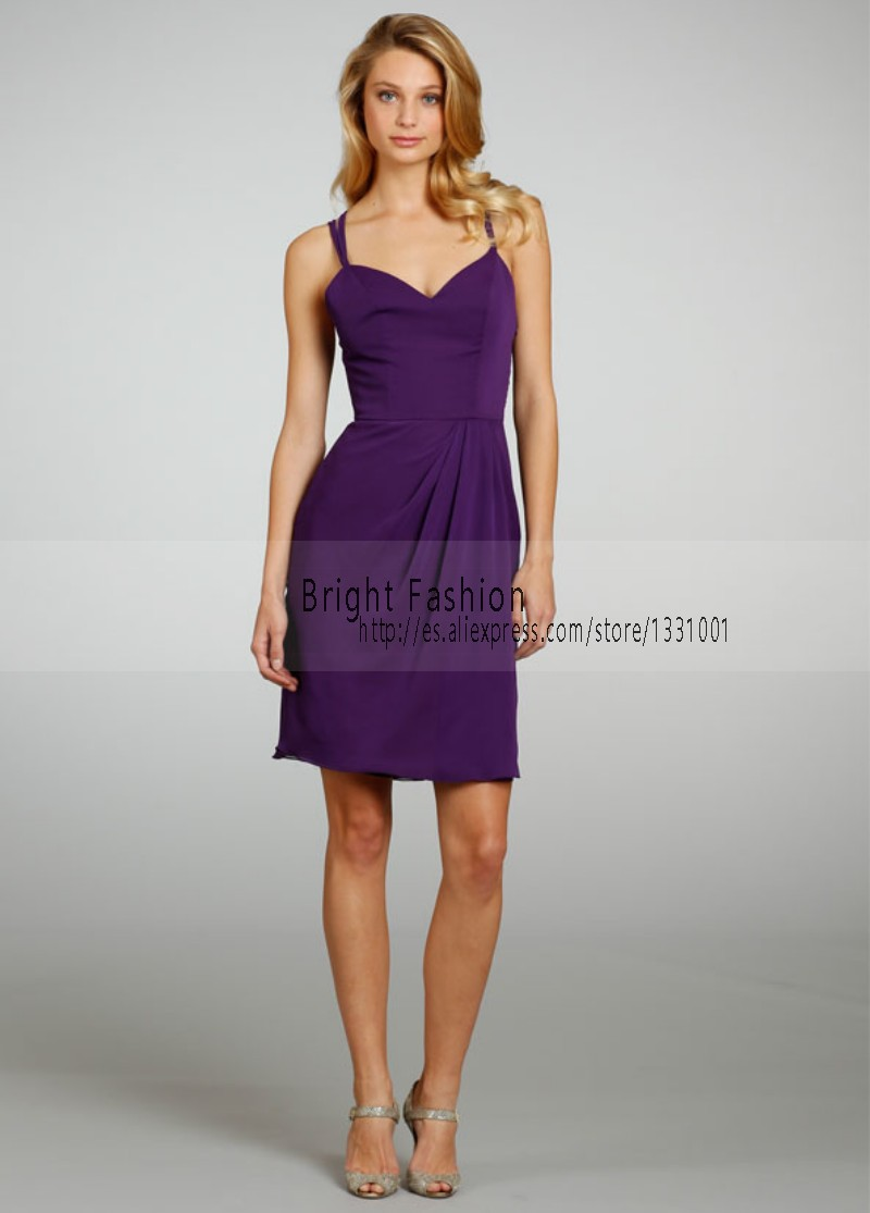 Chiffon Royal Purple Bridesmaid Dress 2015 New Fashionable Short ...