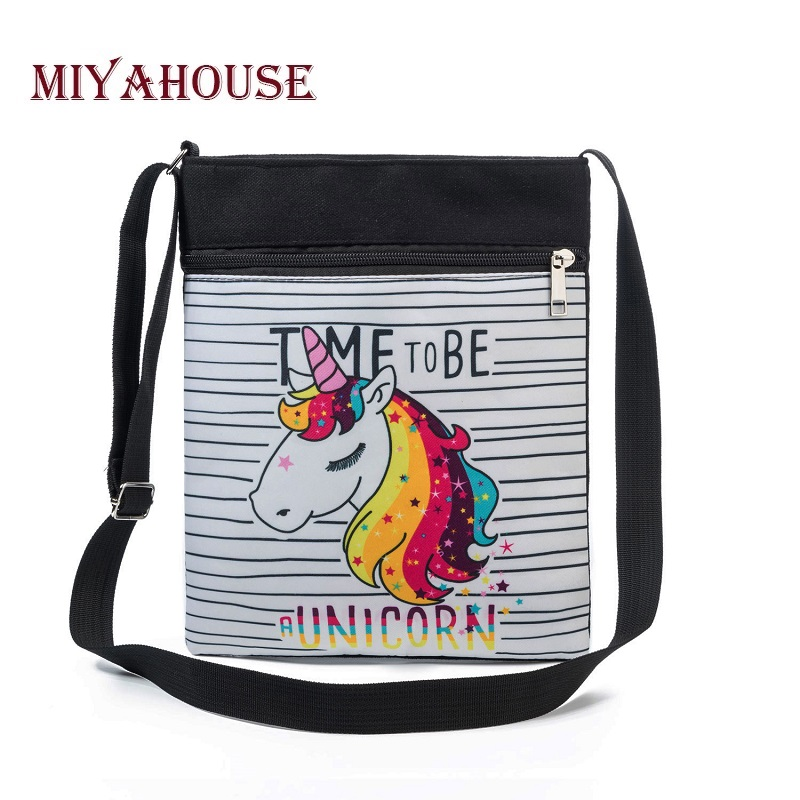 Miyahouse Casual Cartoon Printed Shoulder Phone Bag Female Double Zipper Small Canvas Messenger Bag Women miyahouse fashion colorful tassel design messenger bag women double zipper small shoulder bag female canvas lady flap bag