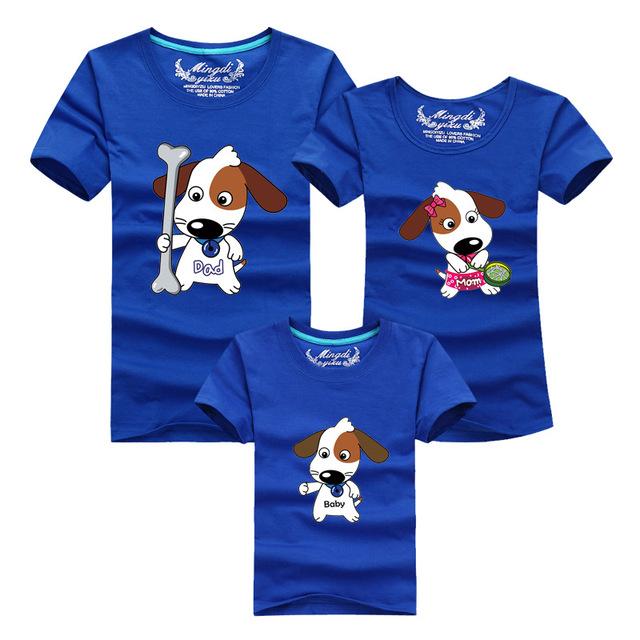 Papá, Mamá, Bebé Ropa de Verano Lindo Perro Camiseta de Algodón Para Padre madre Hijo Hija Familia Traje A Juego Más El Tamaño Casual Tees