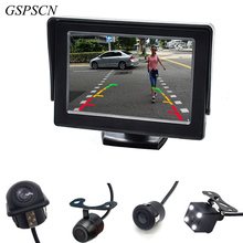 GSPSCN 2 in1 TFT 4.3 Inch Auto TFT LCD Rearview Parking Color Monitor + LED Night Vision CCD Rear View Camera With Car Monitors(China (Mainland))