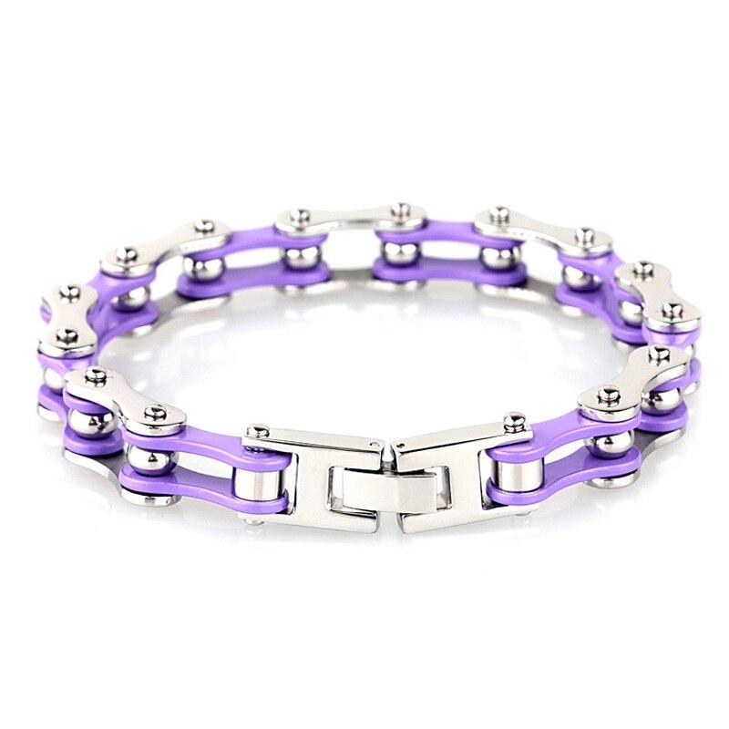 Newest Motorcycle Bracelet Femme Silver Purple Stainless Steel Biker Chain Bracelets Bangle for Women Fashion Jewelry