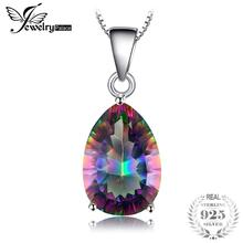 JewelryPalace 4ct Genuine Multicolor Rainbow Fire Mystic Topaz Pendant Pear Pure 925 Sterling Silver
