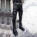Прохладный punk gothic rock визуальный группа рокер Япония стиль карман на молнии покрытием тонкий мужские джинсовые брюки карандаш