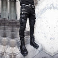 Enfriar punk rock gótico visual banda rockero Japón estilo cremallera bolsillo recubierto de mezclilla lápiz de los pantalones de los hombres delgados