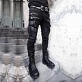 Fresco do punk rock gótico visual banda revestido de roqueiro Japão estilo bolso com zíper dos homens magros lápis calças jeans