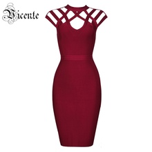 Free Shipping! 2017 New Sexy Summer Fashion Wine Red Grid Cut Out Short Sleeves Wholesale Women Celebrity Party Bandage Dress