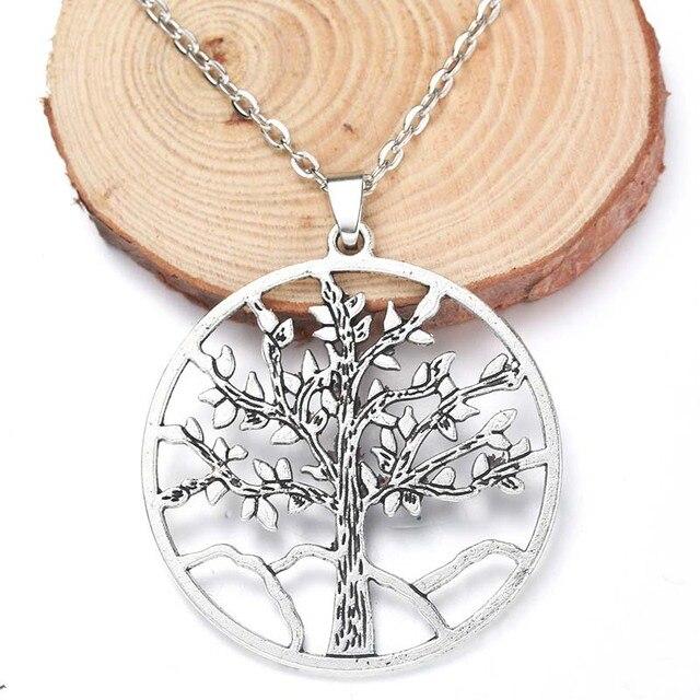 Yüksek Kaliteli 43x45mm Ince Alaşım Hayat Ağacı Kolye Kolye Takı Antik Gümüş Oturma Ağacı Takı Erkekler ve Kadın Hediye