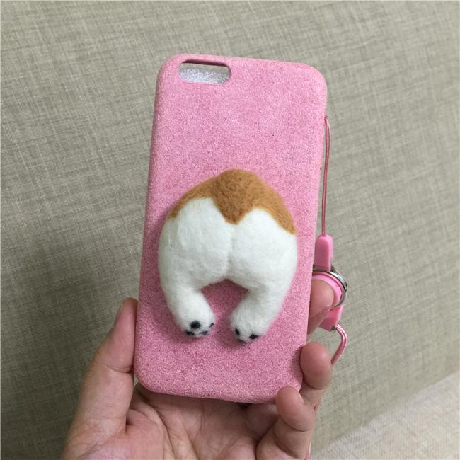 Corgi case handmake igły filcu wełnianego słodkie cat dog tyłek tyłek pokrywa dla apple iphone 6 6s plus iphone 7 7 p miękkie telefon komórkowy case 13