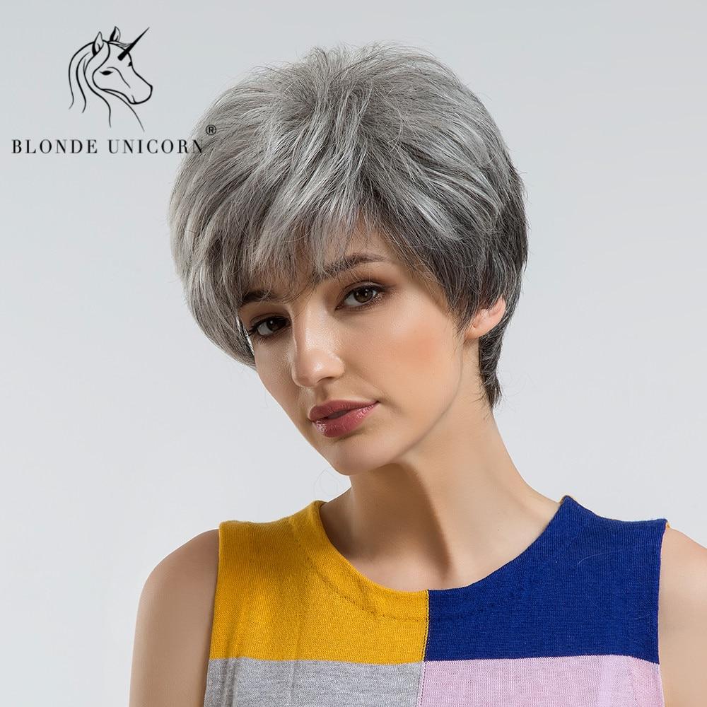 Aliexpress Buy Blonde Unicorn Fluffy Pixie Cut Short Hair Wigs