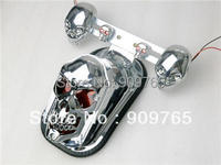 Skull Chrome Integrated Rear for Harley Tail Light Side Mount Plate w/ Turn Signal Electra Road Dyna Glide Softail Sportster Bob