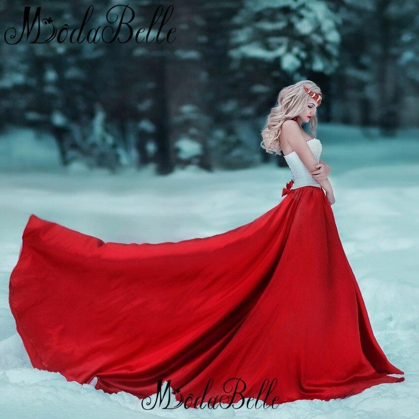 Largas Árabes Vestidos de Noche Con Perlas de Color Rojo Una Línea de Vestidos d