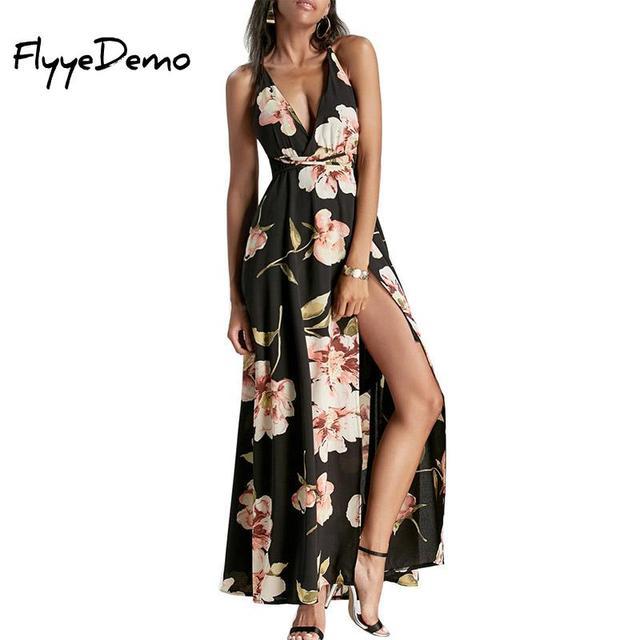 b814822f4902b Summer Maxi Dress Women Floral Print Dress V-neck Sleeveless Spaghetti Strap  Backless Side Split Sexy Beach Long Dress