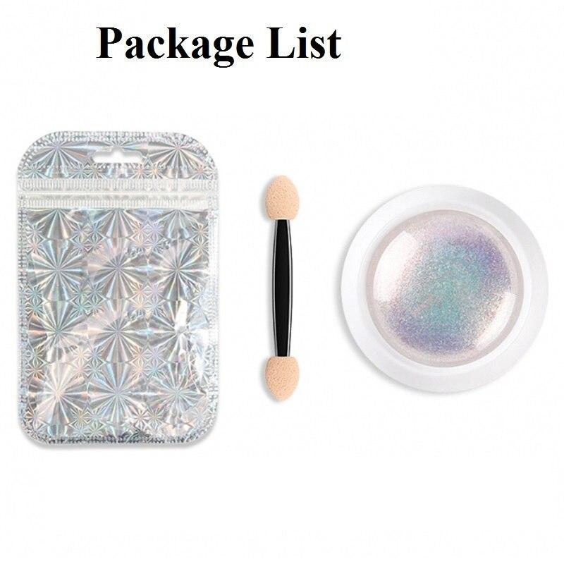 New 1 Box Mirror Nail Glitter Powder Neon Aurora Mermaid Chrome Pigment Powder Dust Manicure DIY Nail Art Decoration in Nail Glitter from Beauty Health