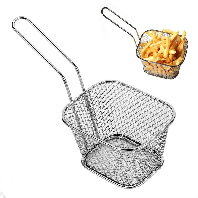 4Pcs Chips Mini Stainless Steel Frying Basket Strainer Sink Fryer Basket  Strainer Cooking Chef Basket French