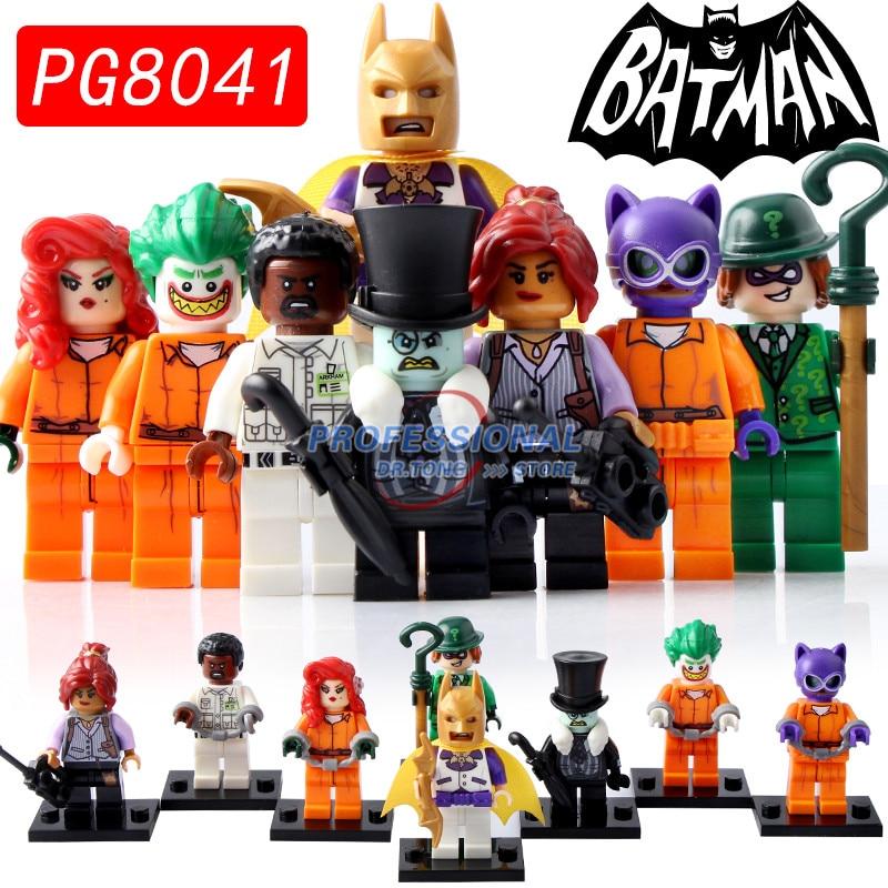 8PCS/LOT PG8041 Super Heroes Joker Batman Poison Ivy Penguin Barbara Gordon Aaron Riddl DIY Figure Building Children Toys