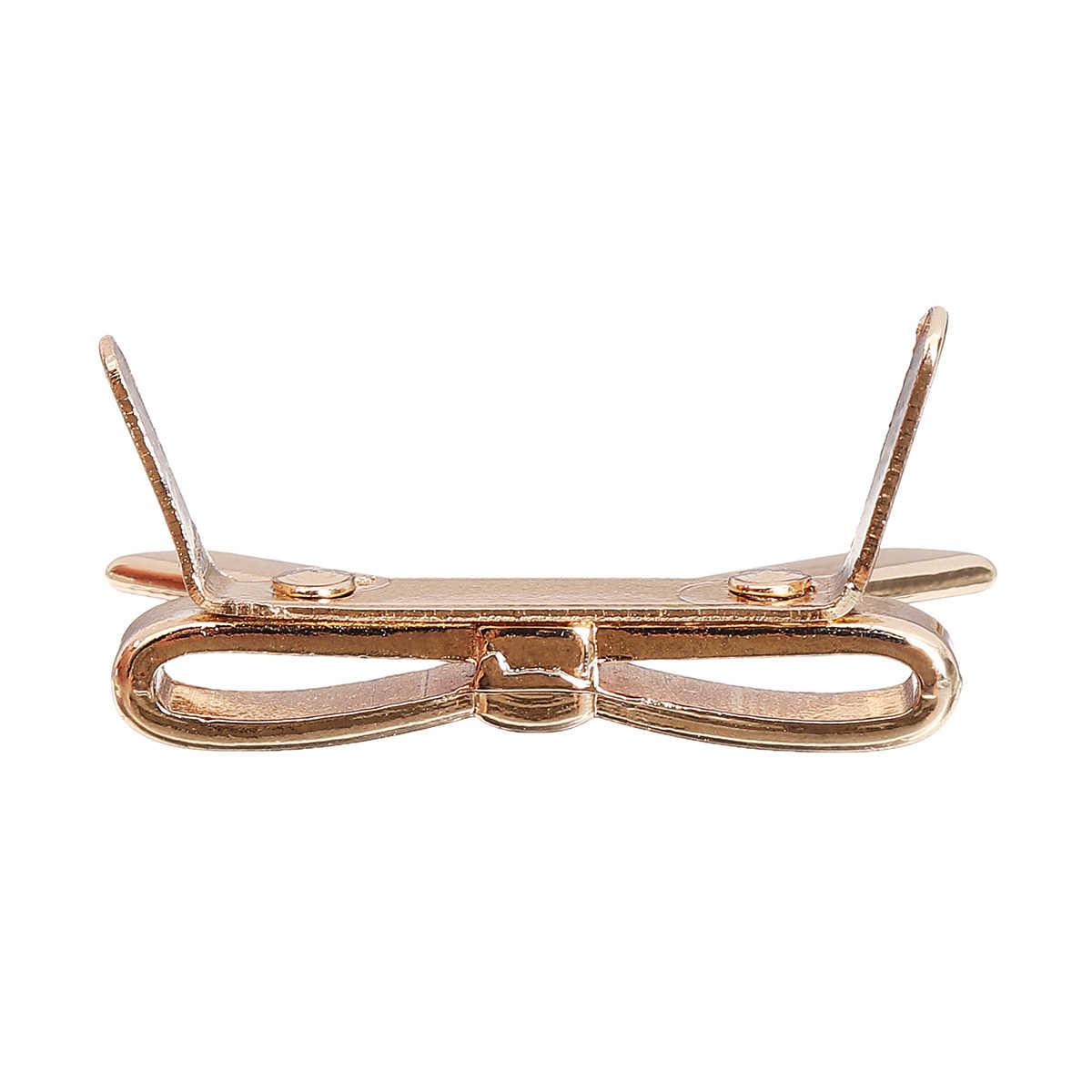 Aequeen لطيف bowknot سبائك الديكور حقيبة يد حقيبة الملحقات أجزاء الأزياء القوس ديي أجزاء جميل محفظة زر الذهب المعادن