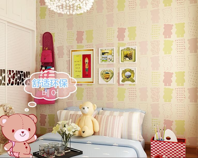 ФОТО New Microfiber non-woven wall stickers waterproof  cute cartoon male girl children room bedroom 10m*53cm wallpaper pistachios