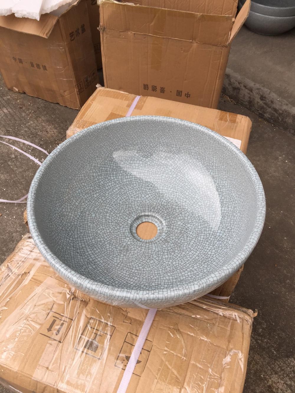 Baño redondo lavabo cerámica encimera lavabo grieta acristalamiento porcelana buque fregadero Lulu001