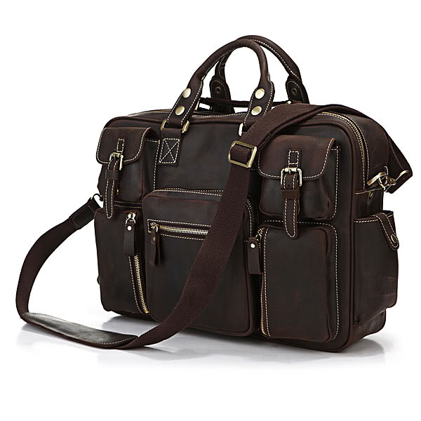Augus Rare Crazy Horse Leather Bag Classic Large Capacity Vintage Laptop Bag Multi Pockets Handbag For Men 7028R augus 100% genuine leather laptop bag fashional and classic crossbody bags leather for men large capacity leather bag 7185a