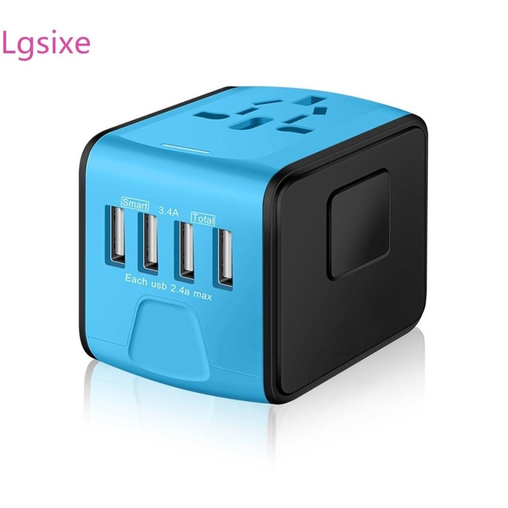 Lgsixe A -104 Universal Travel Adapter 2.4A Dual USB Wall Charger eu to us plug in adaptor EU UK US AU