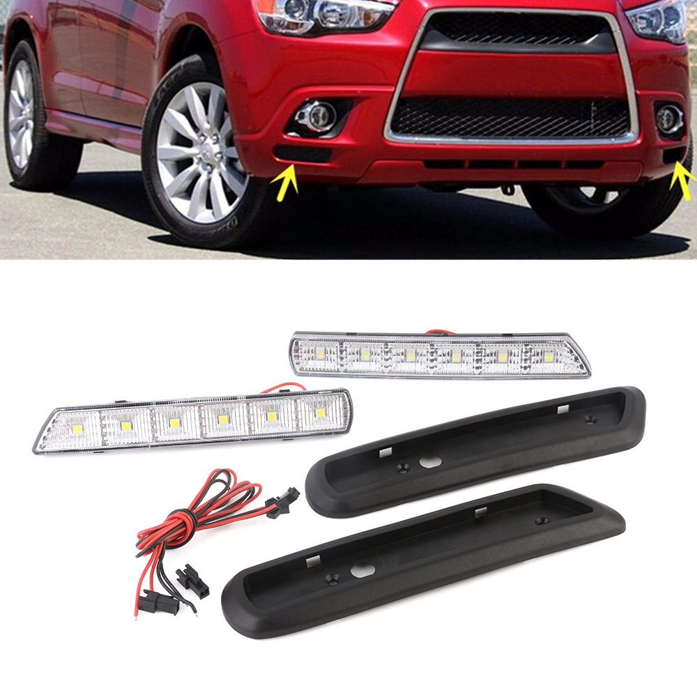 New Arrival Auto Car LED Day Light DRL Driving Daytime Running Light Fog Lamp For Mitsubishi ASX 2010-2012 Free Shipping D35 drl daytime running lights for audi a4 b8 2009 2010 2011 2012 auto led day driving lamp with fog lamp hole free shipping