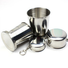 Stainless Steel Camping Folding Cup Portable Outdoor Travel Demountable Collapsible Cup With Keychain 60ml 150ml 250ml
