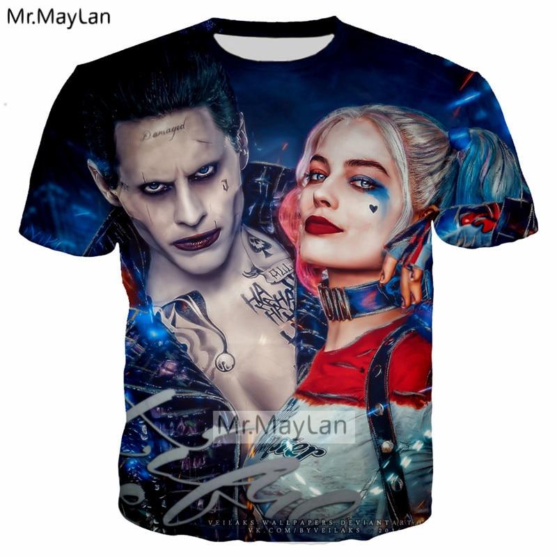 Movie Suicide Squad Harley Quinn Joker 3D Print T shirt Men women Hip Hop Streetwear Blue