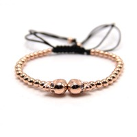 2017 Wholesale New Fashion Man Punk Skull Beads Bracelet Jewelry For Man Women In 4 Colors