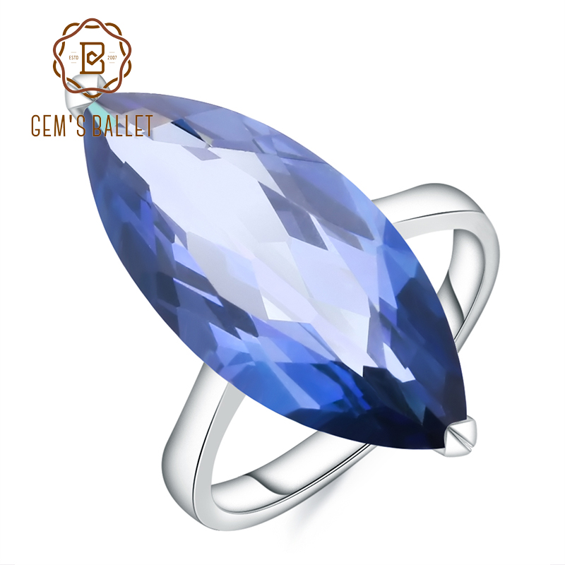Gem's Ballet 11.45Ct Big Oval Marquise Natural Iolite Blue Mystic Quartz Gemstone Ring 925 Sterling Silver Rings Fine Jewelry