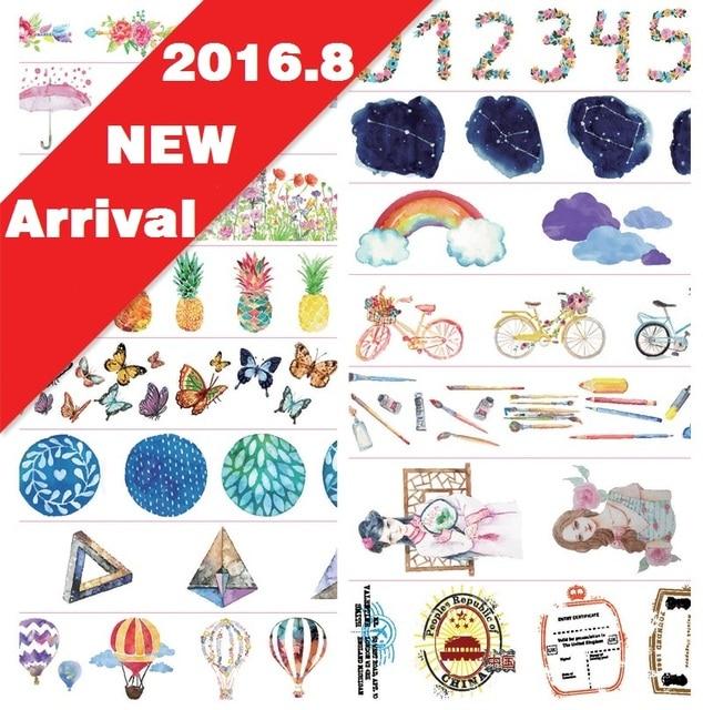 16Designs NEW!! Keys /Girl /Balloon/Butterfly Pattern Japanese Washi Decorative Adhesive DIY Masking Paper Tape Sticker Label
