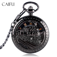 Retro Exquisite Skeleton Running Steam Train Design Pocket Watch Black Women Men Mechanical Hand Winding Chain