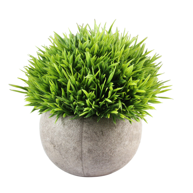 mini plastic fake faux green grass simulation artificial plants with