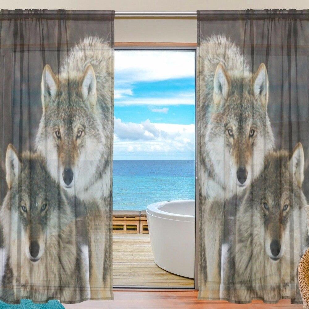 Décoration animale rideau chambre rideaux transparents pour salon Tulle rideaux/panneaux loup chambre tulle rideaux