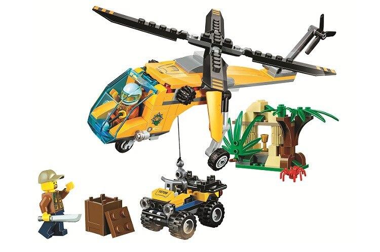10709 Jungle Cargo Helicopter Building Blocks Sets kids Educational Bricks Classic Model Toys gift Compatible 60158 8pcs lot spongebob kids toys building blocks sets children classic block toys gift compatible with legoeinglys 231