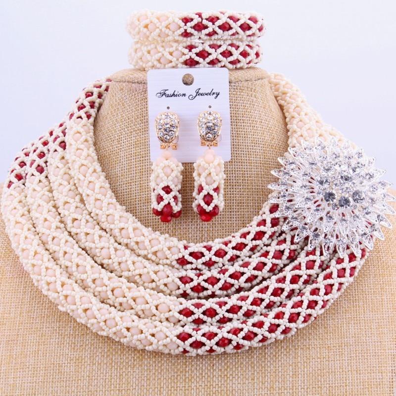 Ensemble de bijoux pour femmes africaines nigérianes collier perles bijoux 4 couches bijoux de mariée pour mariage indien livraison gratuite nouveau