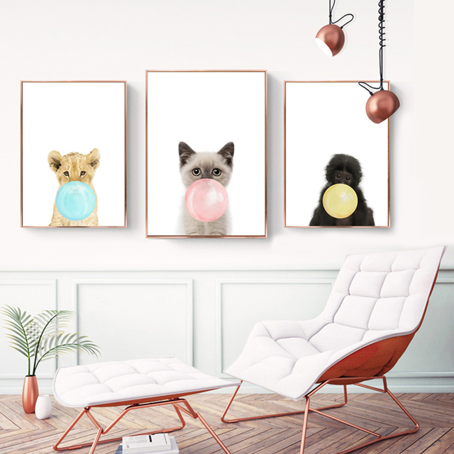 Micsunny simple dog monkey cat cartoon wall paintings animal ballen prints and poster for home decoration