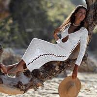 2019 Long Crochet tejido Playa cubierta ups Pareo de Plage traje de baño cubrir ropa de Playa Pareos de Playa Mujer Bikini cubierta