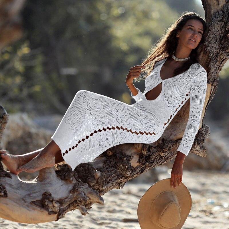 2019 Long Crochet tricoté Plage couverture ups paréo de Plage maillot de bain couvrir Plage porter paros de Playa Mujer Bikini couvrir