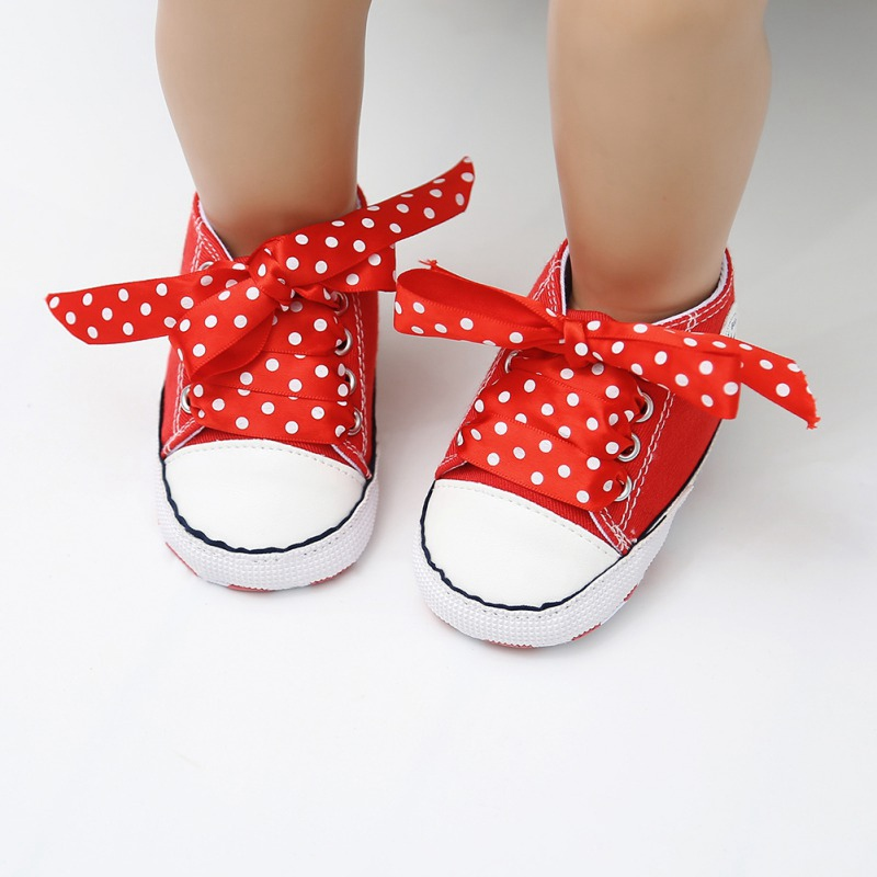 Polka Dot Baby Girls Shoes Spring Canvas Red Ribbon Cute Baby Shoes Newborn First Walkers Send Free White Shoelace