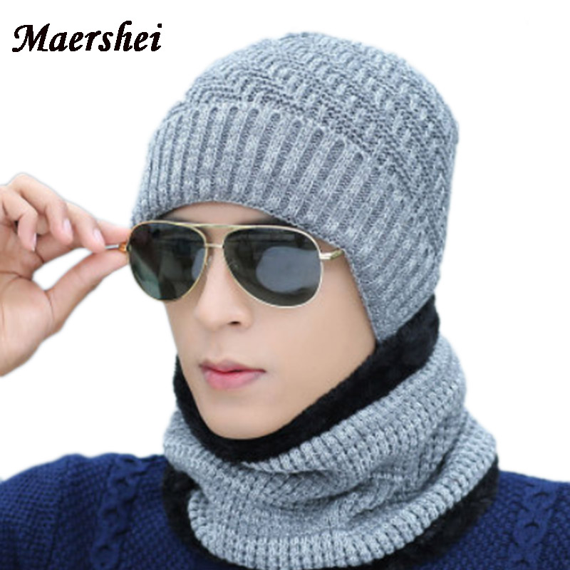 MAERSHEI Winter Hat Men Women Knitted Hats Scarf set Skullies Beanies Caps  Winter Caps Balaclava Mask Hood Cap Wool Fur Hats 98722e4fe557
