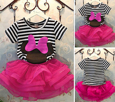 2pcs/set 2016 Baby Kid Girls clothes set Party Outfits Striped T-shirt Tops & Mini Skirt Tutu Dress baby girl clothing цена 2017