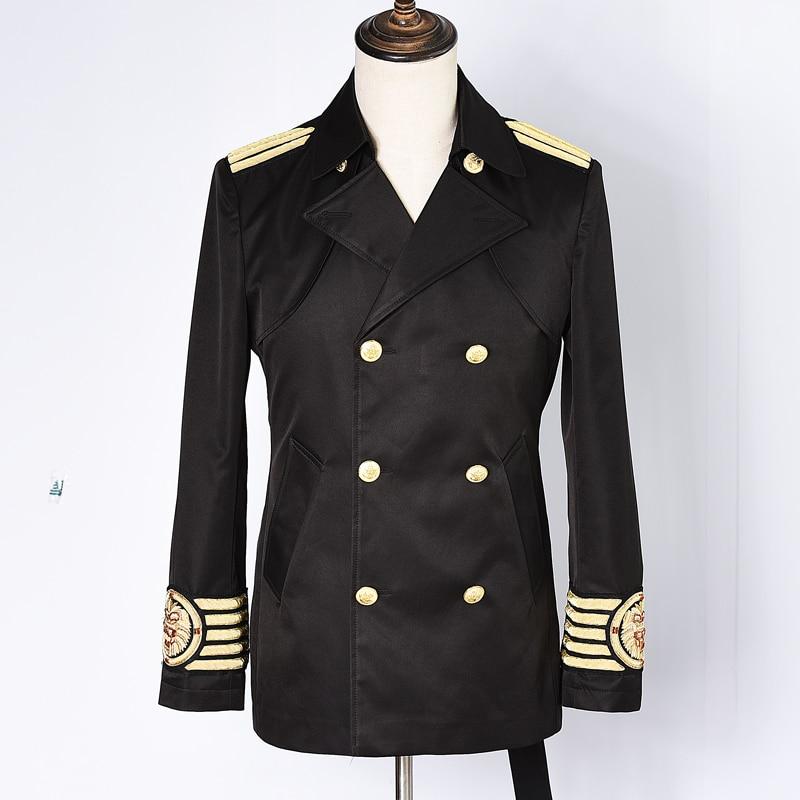 Chaud nouveau hommes à la main broderie de fil d'or Trench Coat angleterre double boutonnage Long caban cheveux styliste coupe-vent cadeau