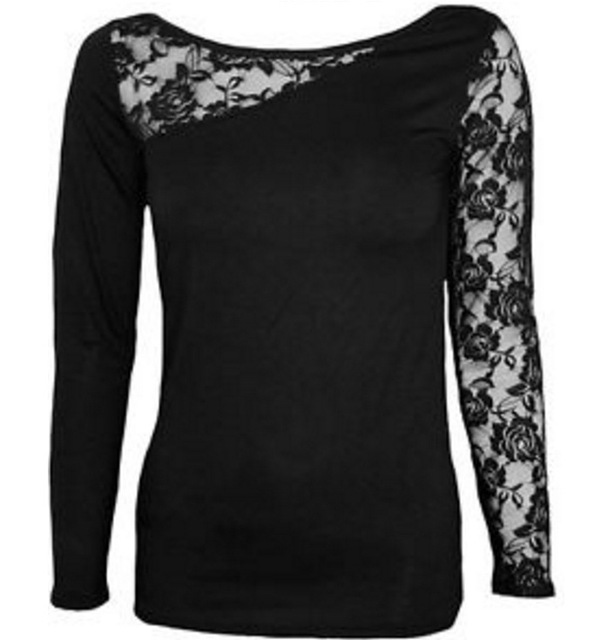 T Shirt Women Fashion Ladies Round Neck Skull long-sleeved Lace Patchwork Sexy long-sleeved T-shirt Vestidos BLK9000 1