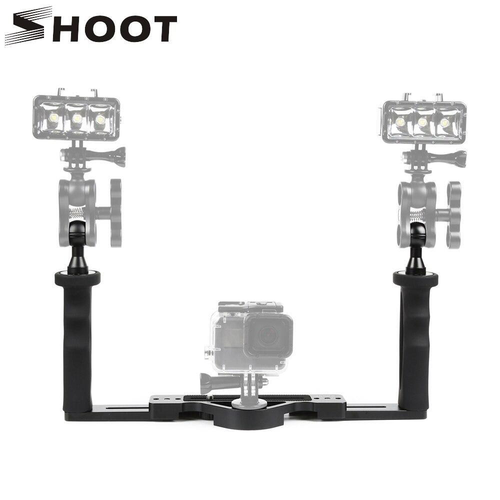 SHOOT Adjustable Aluminum Alloy Underwater Handheld Stabilizer for GoPro Hero 6 5 4 Yi 4k Eken H9 Tray Handle Grip For Dome Port стоимость