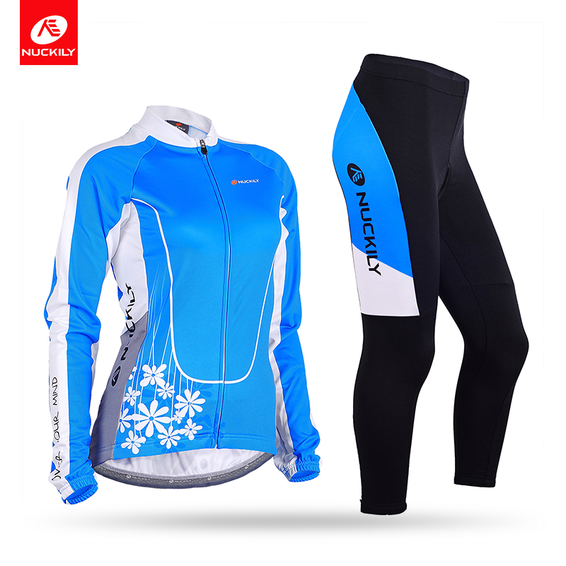 все цены на NUCKILY Spring/Autumn Bicycle Jersey Set Women Flower Pattern Long Sleeve Bule Cycling Bodysuit With Foam Pad Tights GC001GD001