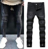 Nowy Biker Jeans Men Białe Dziury Boku Zamek Denim Spodnie Męskie Bawełniane Spodnie Skinny Jeans Marka Baggy Spodnie Jean Mody