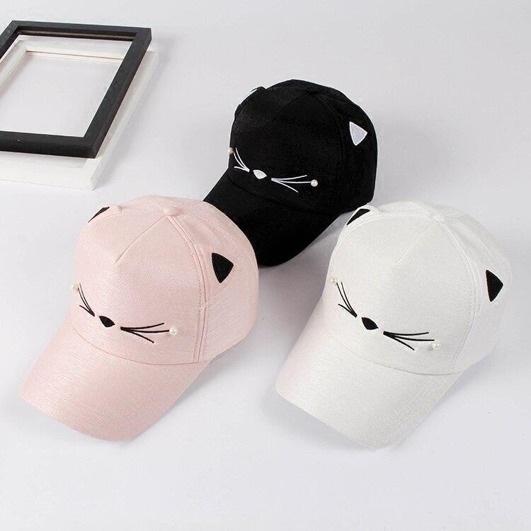 Prix pour Vente chaude Gorras 2017 D'été Nouvelle-Coréen Harajuku Nouveauté Broderie Chat snapback chapeau pour hommes et femmes hip hop rose casquettes de baseball