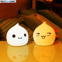 BOCHSBC Touch 7 Colors Change Night Lights for Children Baby Bedroom Cartoon Soft Silicone Cute Lamp Using 3 AAA Battery Light
