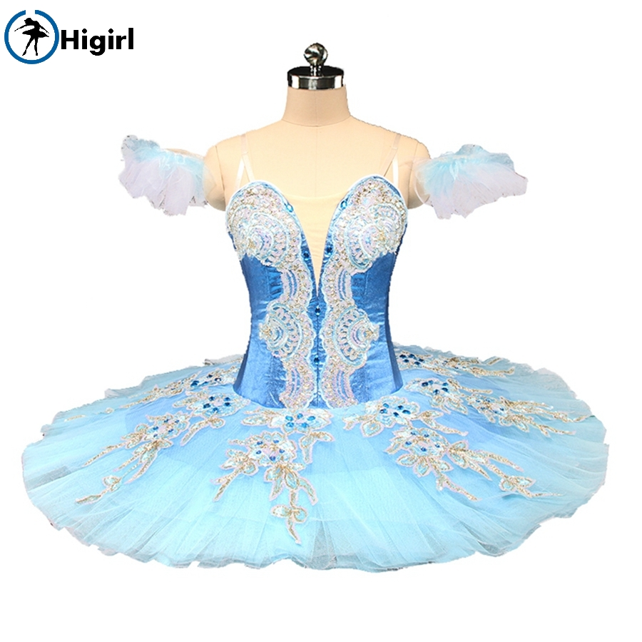 Free Shipping Blue Fairy Professional Ballet Tutu Women Pancake Paltter Performance Blue Doll Stage Cosutme BT9161