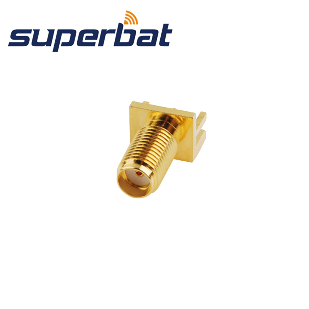 Superbat  10pcs RF SMA Connector End Launch Jack Female PCB Mount Wide Flange .062''(1.57mm) Free Shipping